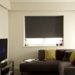 Moire charcoal blackout roller blind