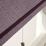 Poplin aubergine damson braid matt nickel pull roller blind