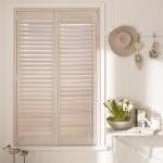Light natural wood shutters