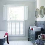 White bathroom shutter