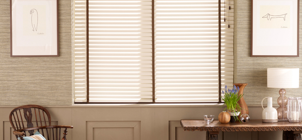 Cream Fauxwood with Brown Tapes Venetian Blind