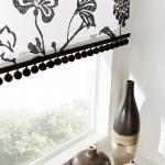 tamara monochrome black pom poms roller blind